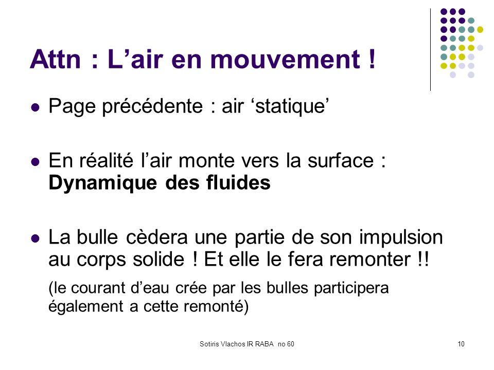 Sotiris Vlachos IR RABA no 6010 Attn : Lair en mouvement ! Page précédente : air statique En réalité lair monte vers la surface : Dynamique des fluide