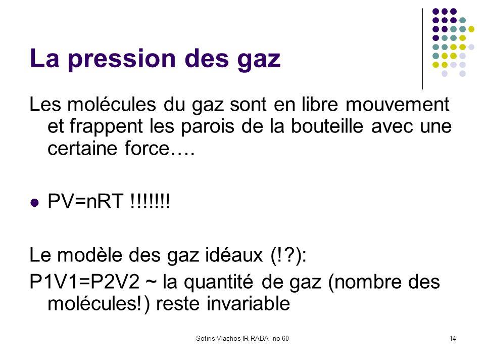 Sotiris Vlachos IR RABA no 6014 La pression des gaz Les molécules du gaz sont en libre mouvement et frappent les parois de la bouteille avec une certa