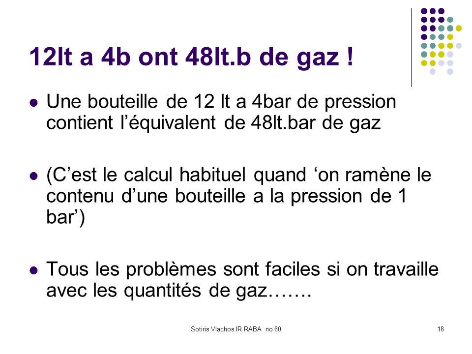 Sotiris Vlachos IR RABA no 6018 12lt a 4b ont 48lt.b de gaz ! Une bouteille de 12 lt a 4bar de pression contient léquivalent de 48lt.bar de gaz (Cest