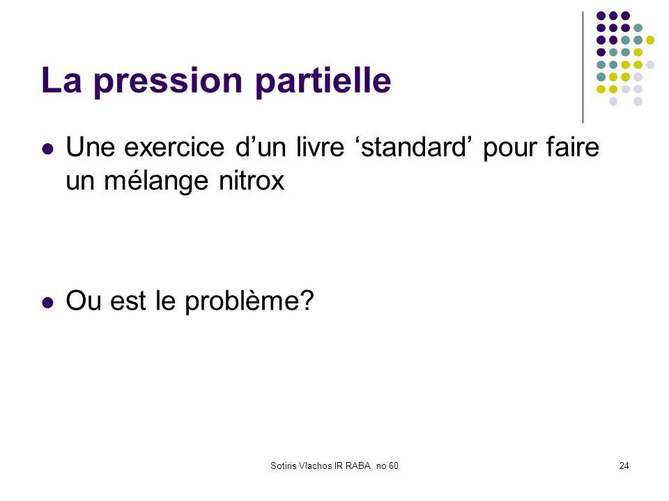 Sotiris Vlachos IR RABA no 6024 La pression partielle Une exercice dun livre standard pour faire un mélange nitrox Ou est le problème?