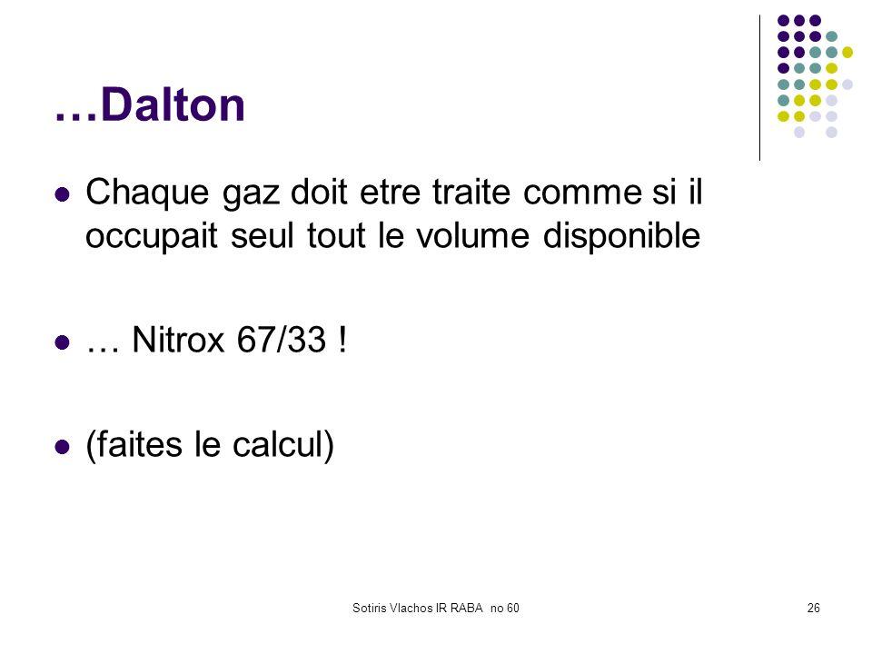 Sotiris Vlachos IR RABA no 6026 …Dalton Chaque gaz doit etre traite comme si il occupait seul tout le volume disponible … Nitrox 67/33 ! (faites le ca