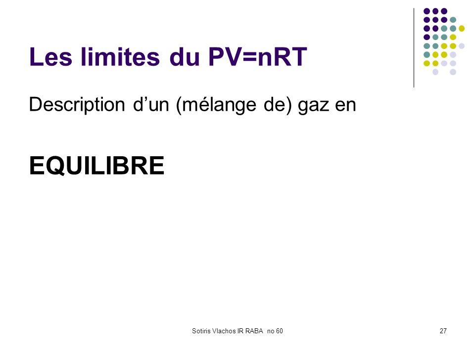Sotiris Vlachos IR RABA no 6027 Les limites du PV=nRT Description dun (mélange de) gaz en EQUILIBRE