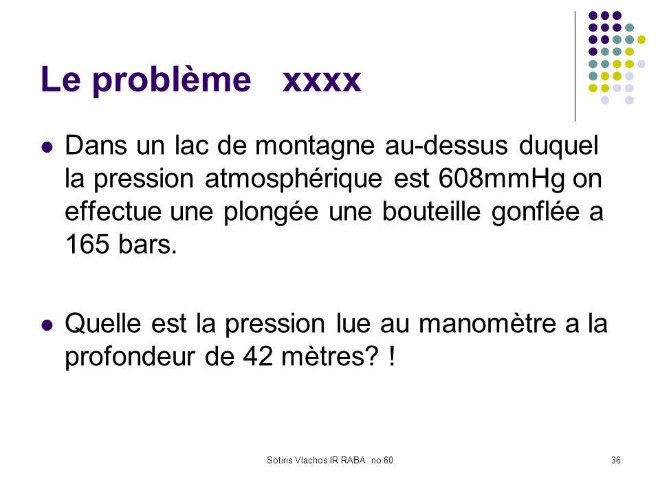 Sotiris Vlachos IR RABA no 6036 Le problème xxxx Dans un lac de montagne au-dessus duquel la pression atmosphérique est 608mmHg on effectue une plongé