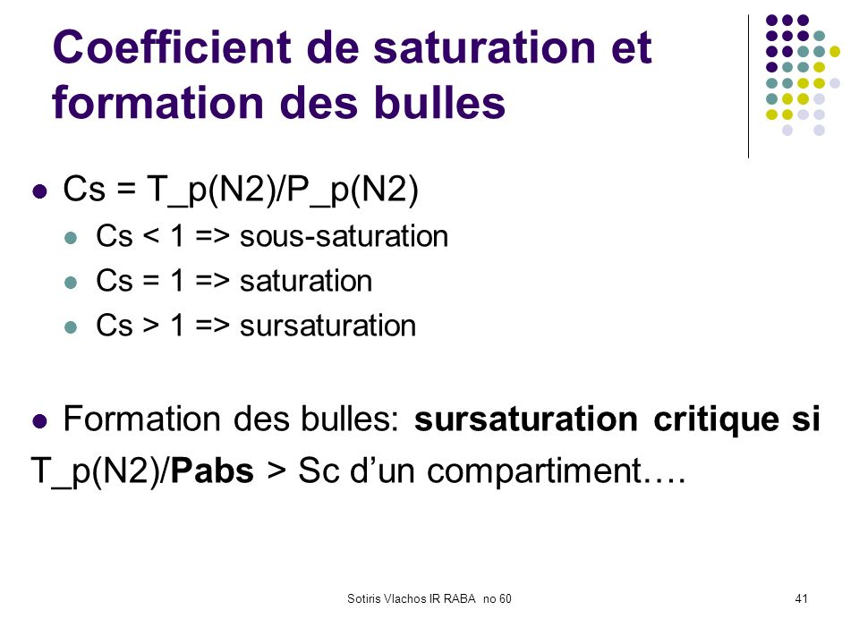 Sotiris Vlachos IR RABA no 6041 Coefficient de saturation et formation des bulles Cs = T_p(N2)/P_p(N2) Cs sous-saturation Cs = 1 => saturation Cs > 1