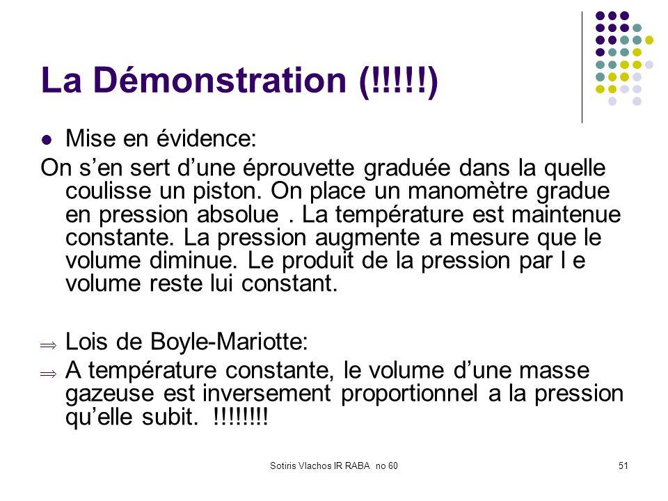 Sotiris Vlachos IR RABA no 6051 La Démonstration (!!!!!) Mise en évidence: On sen sert dune éprouvette graduée dans la quelle coulisse un piston. On p