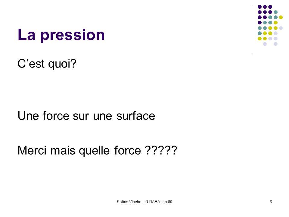 Sotiris Vlachos IR RABA no 606 La pression Cest quoi? Une force sur une surface Merci mais quelle force ?????