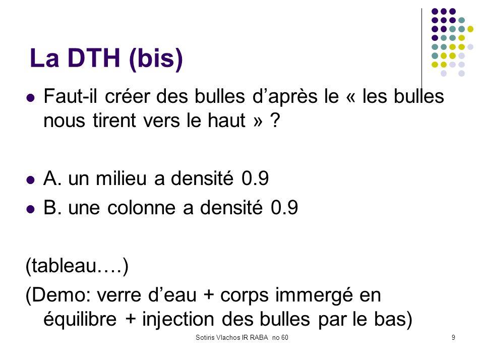 Sotiris Vlachos IR RABA no 609 La DTH (bis) Faut-il créer des bulles daprès le « les bulles nous tirent vers le haut » ? A. un milieu a densité 0.9 B.
