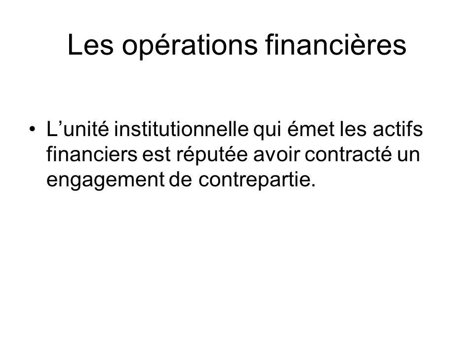 Les opérations financières Lunité institutionnelle qui émet les actifs financiers est réputée avoir contracté un engagement de contrepartie.