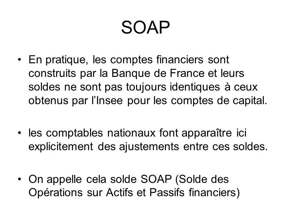 SOAP En pratique, les comptes financiers sont construits par la Banque de France et leurs soldes ne sont pas toujours identiques à ceux obtenus par lI