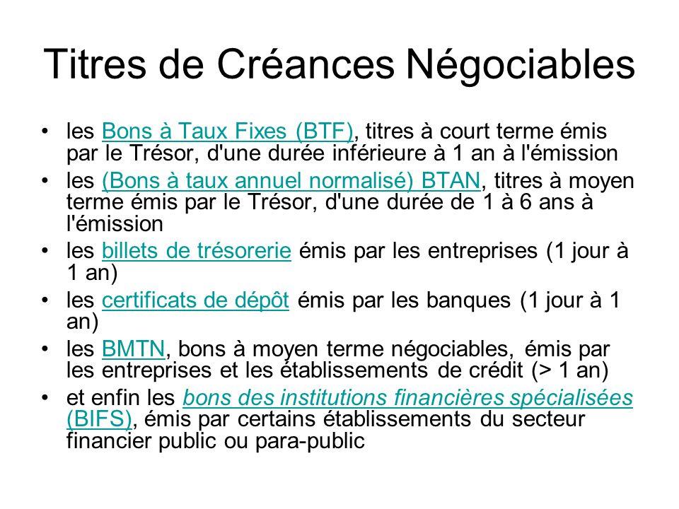 Titres de Créances Négociables les Bons à Taux Fixes (BTF), titres à court terme émis par le Trésor, d'une durée inférieure à 1 an à l'émission les (B