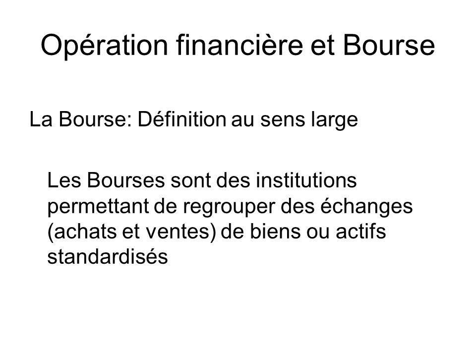 Opération financière et Bourse La Bourse: Définition au sens large Les Bourses sont des institutions permettant de regrouper des échanges (achats et v