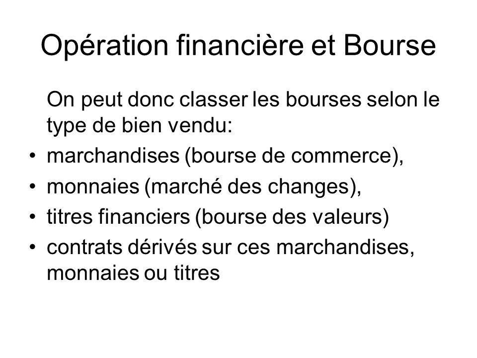 Opération financière et Bourse On peut donc classer les bourses selon le type de bien vendu: marchandises (bourse de commerce), monnaies (marché des c