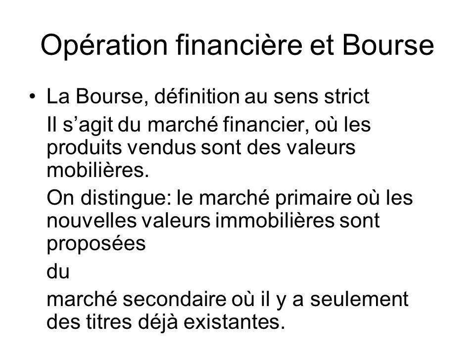 Opération financière et Bourse La Bourse, définition au sens strict Il sagit du marché financier, où les produits vendus sont des valeurs mobilières.