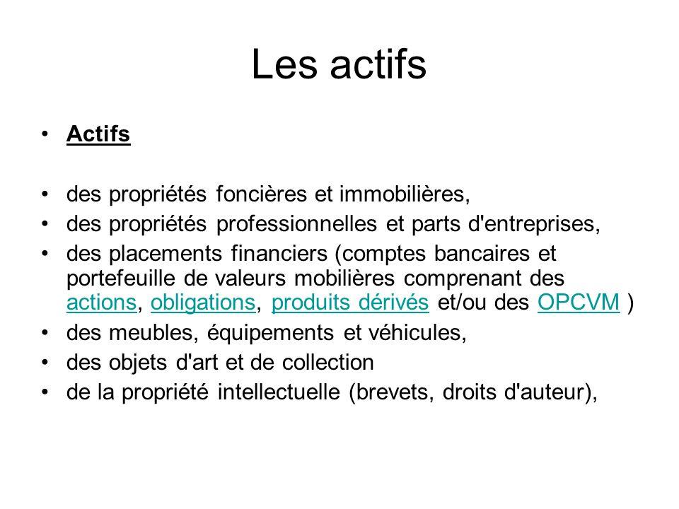 Les actifs Actifs des propriétés foncières et immobilières, des propriétés professionnelles et parts d'entreprises, des placements financiers (comptes