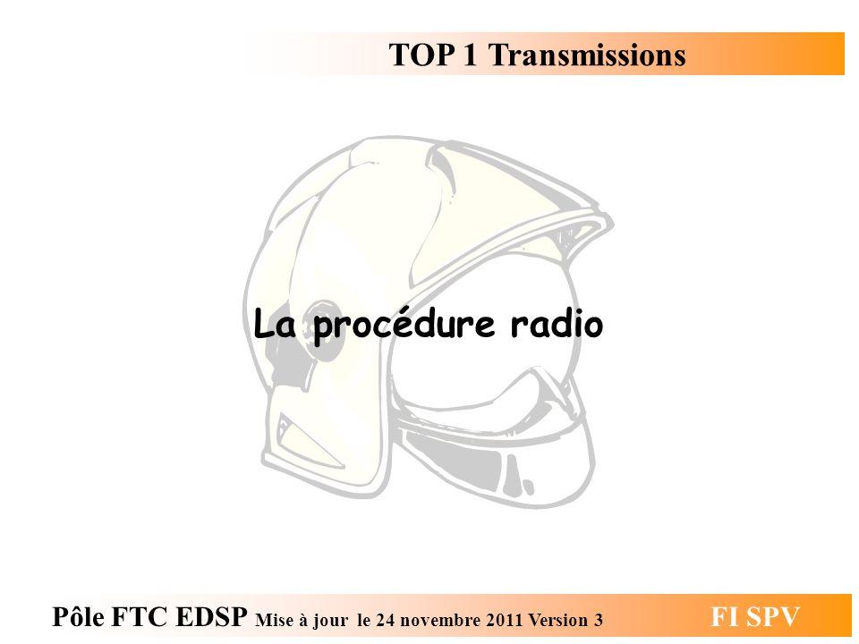 TOP 1 Transmissions Pôle FTC EDSP Mise à jour le 24 novembre 2011 Version 3 FI SPV La procédure radio