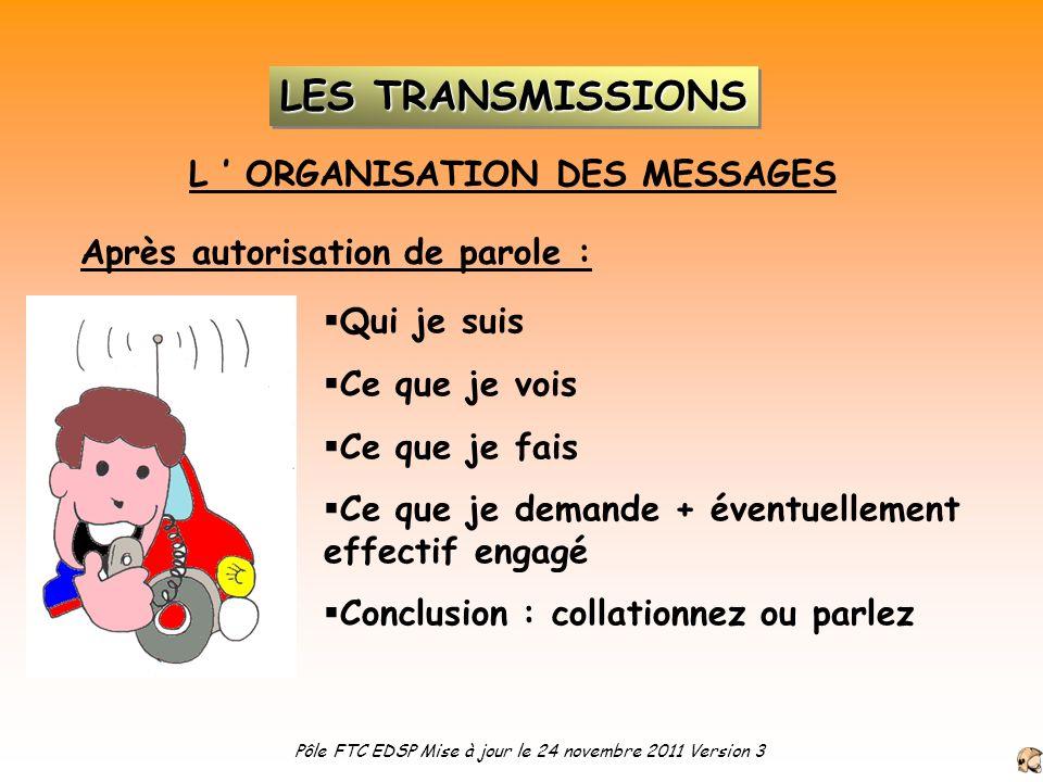 L ORGANISATION DES MESSAGES Après autorisation de parole : Qui je suis Ce que je vois Ce que je fais Ce que je demande + éventuellement effectif engag