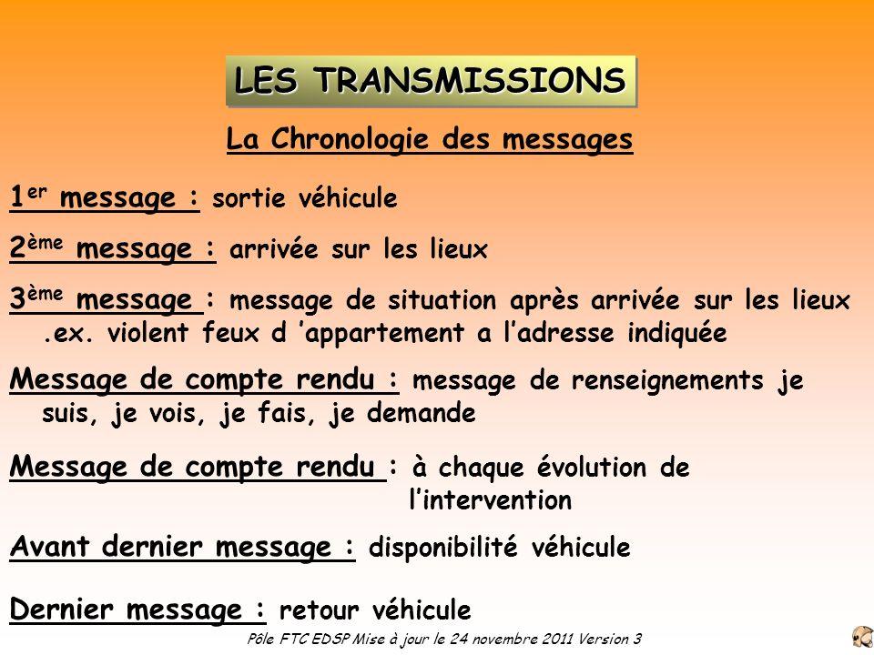 La Chronologie des messages 1 er message : sortie véhicule 2 ème message : arrivée sur les lieux Message de compte rendu : message de renseignements j