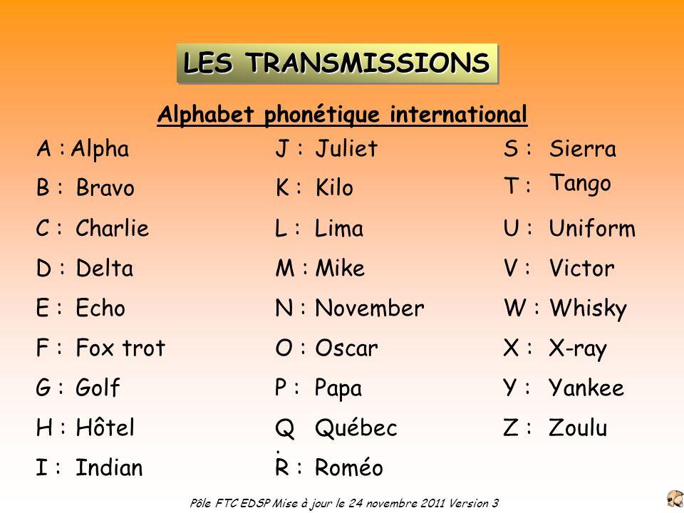 Alphabet phonétique international A :Alpha BravoB : C : D : E : F : G : H : I : J : Charlie Delta Echo Fox trot Golf Hôtel Indian Juliet K : L : M : N