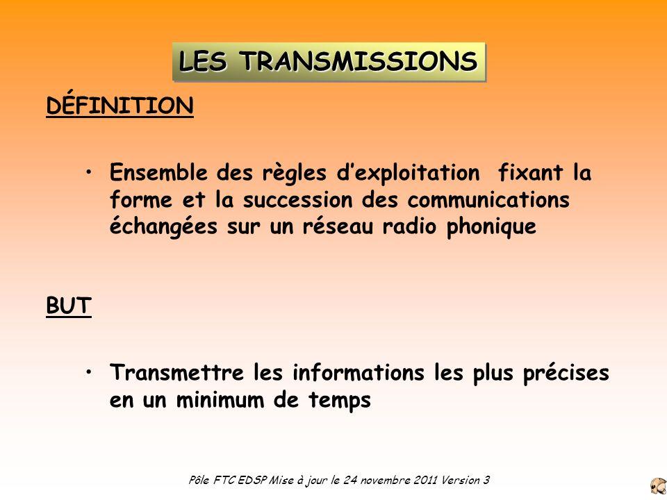 Ensemble des règles dexploitation fixant la forme et la succession des communications échangées sur un réseau radio phonique DÉFINITION BUT Transmettr