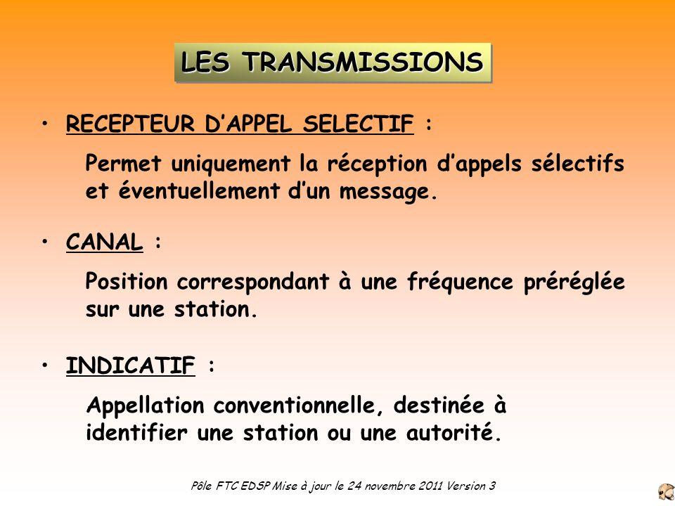RECEPTEUR DAPPEL SELECTIF : Permet uniquement la réception dappels sélectifs et éventuellement dun message. CANAL : Position correspondant à une fréqu