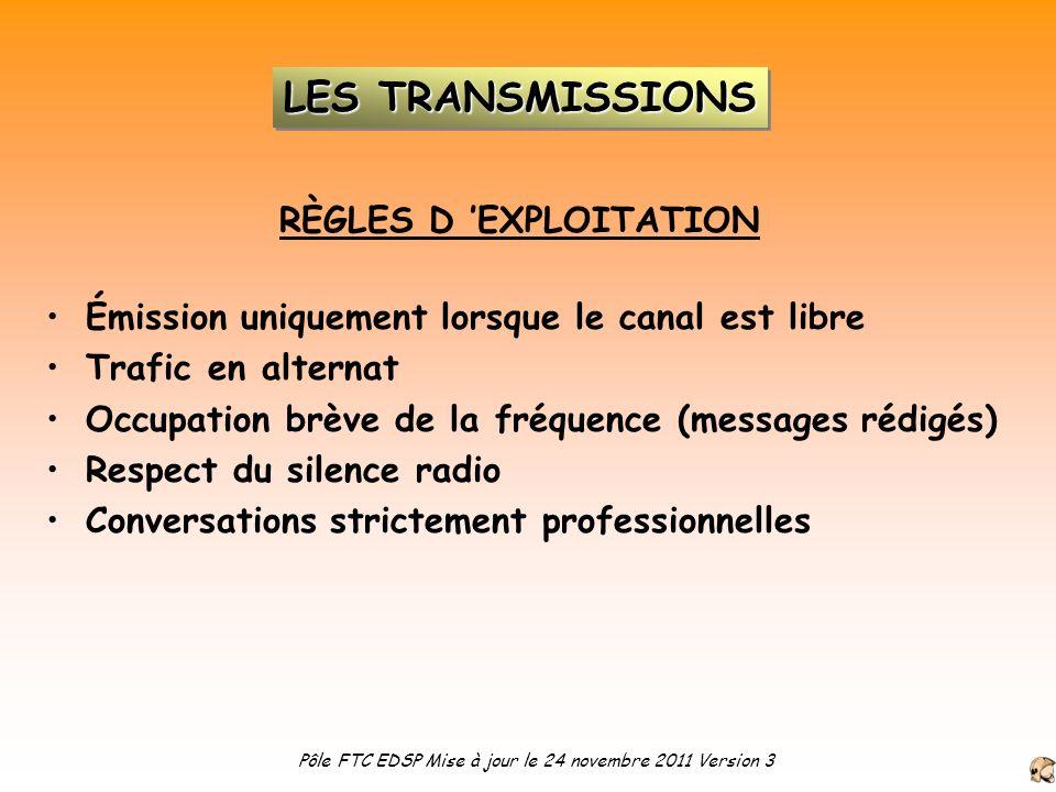 RÈGLES D EXPLOITATION Émission uniquement lorsque le canal est libre Trafic en alternat Occupation brève de la fréquence (messages rédigés) Respect du