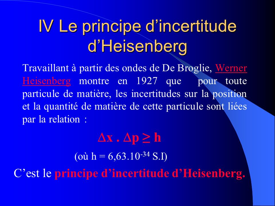 IV Le principe dincertitude dHeisenberg Travaillant à partir des ondes de De Broglie, Werner Heisenberg montre en 1927 que pour toute particule de mat