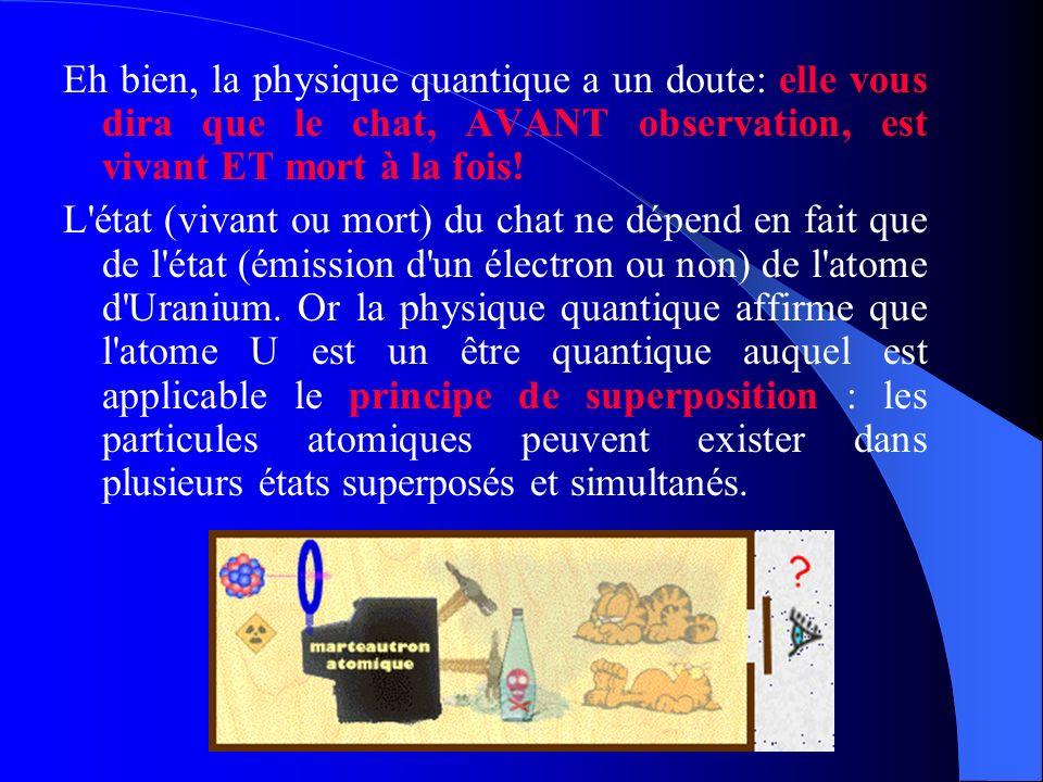 Eh bien, la physique quantique a un doute: elle vous dira que le chat, AVANT observation, est vivant ET mort à la fois! L'état (vivant ou mort) du cha