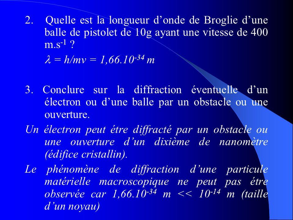 2. Quelle est la longueur donde de Broglie dune balle de pistolet de 10g ayant une vitesse de 400 m.s -1 ? = h/mv = 1,66.10 -34 m 3. Conclure sur la d