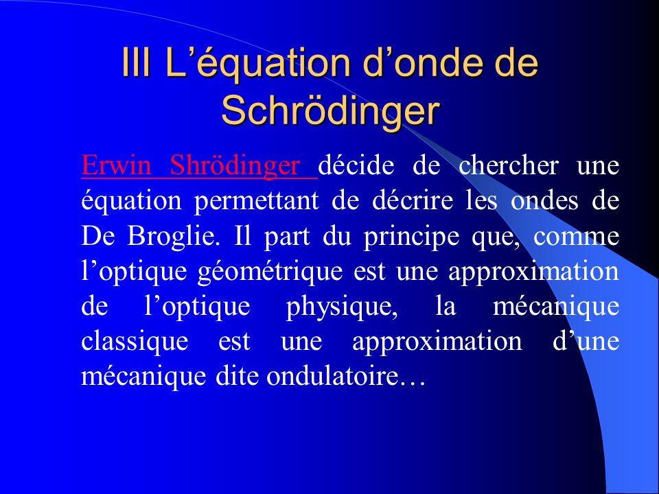 III Léquation donde de Schrödinger Erwin Shrödinger Erwin Shrödinger décide de chercher une équation permettant de décrire les ondes de De Broglie. Il