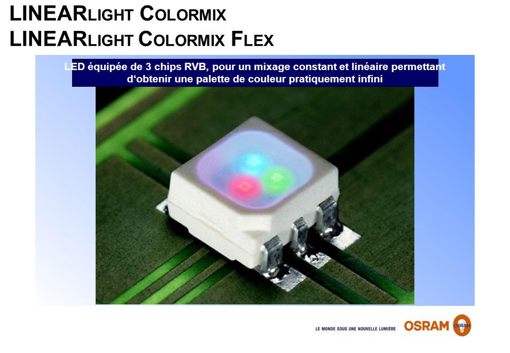 LINEAR LIGHT C OLORMIX LINEAR LIGHT C OLORMIX F LEX LED équipée de 3 chips RVB, pour un mixage constant et linéaire permettant dobtenir une palette de