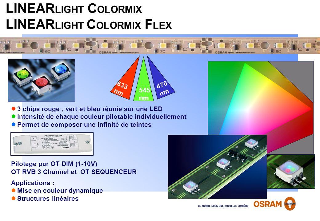 LINEAR LIGHT C OLORMIX LINEAR LIGHT C OLORMIX F LEX 3 chips rouge, vert et bleu réunie sur une LED Intensité de chaque couleur pilotable individuellem