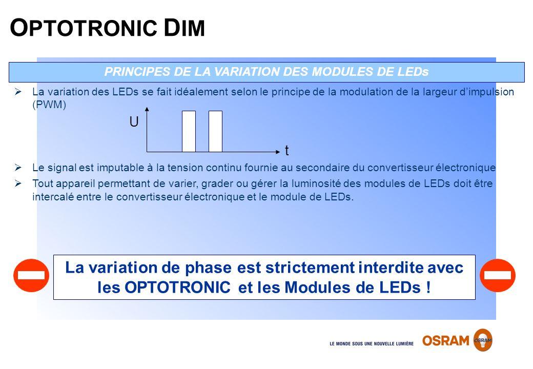 La variation des LEDs se fait idéalement selon le principe de la modulation de la largeur dimpulsion (PWM) Le signal est imputable à la tension contin