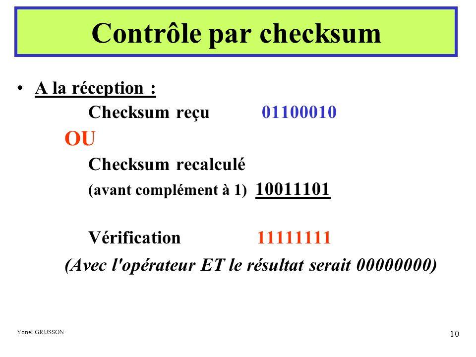Yonel GRUSSON 10 A la réception : Checksum reçu 01100010 OU Checksum recalculé (avant complément à 1) 10011101 Vérification 11111111 (Avec l'opérateur