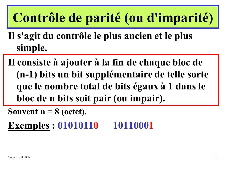 Yonel GRUSSON 11 Contrôle de parité (ou d'imparité) Il s'agit du contrôle le plus ancien et le plus simple. Il consiste à ajouter à la fin de chaque b