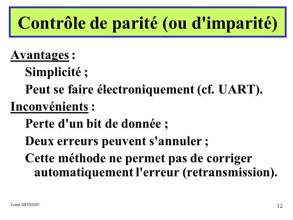 Yonel GRUSSON 12 Avantages : Simplicité ; Peut se faire électroniquement (cf. UART). Inconvénients : Perte d'un bit de donnée ; Deux erreurs peuvent s