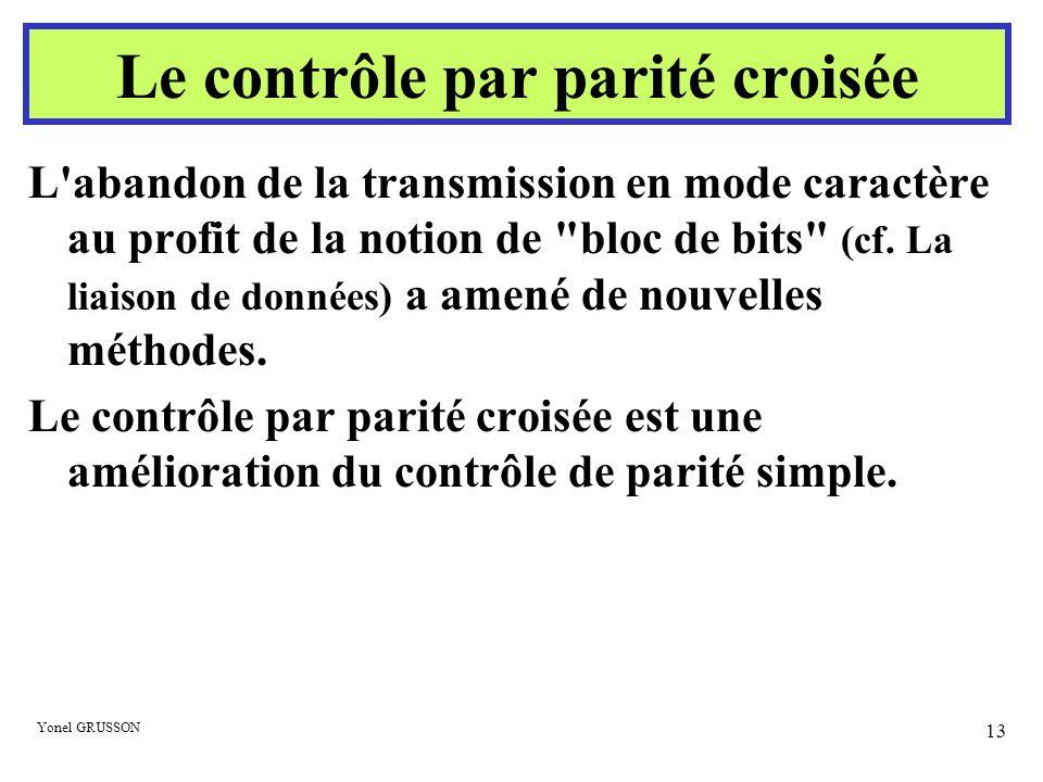 Yonel GRUSSON 13 Le contrôle par parité croisée L'abandon de la transmission en mode caractère au profit de la notion de