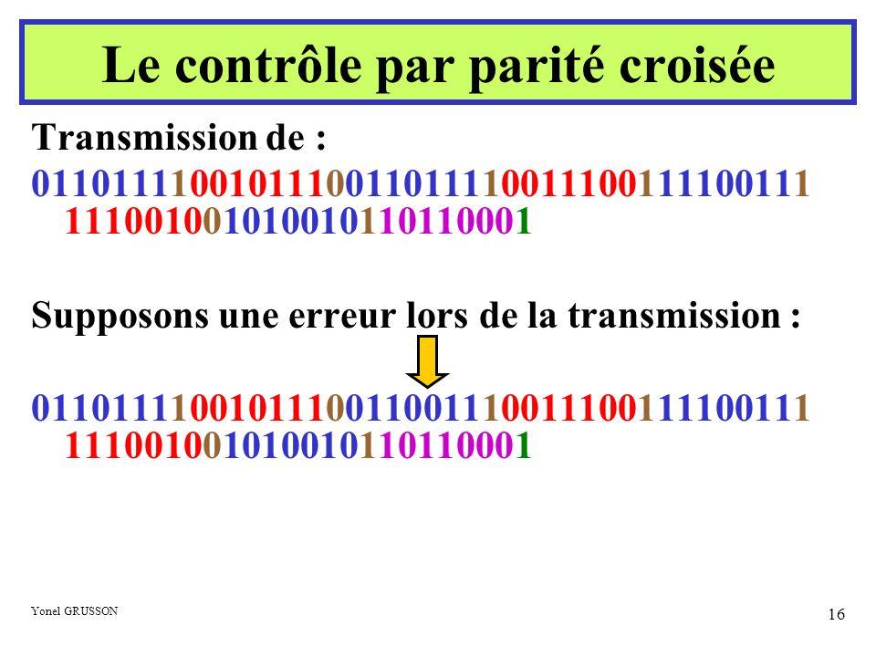 Yonel GRUSSON 16 Transmission de : 0110111100101110011011110011100111100111 111001001010010110110001 Supposons une erreur lors de la transmission : 01