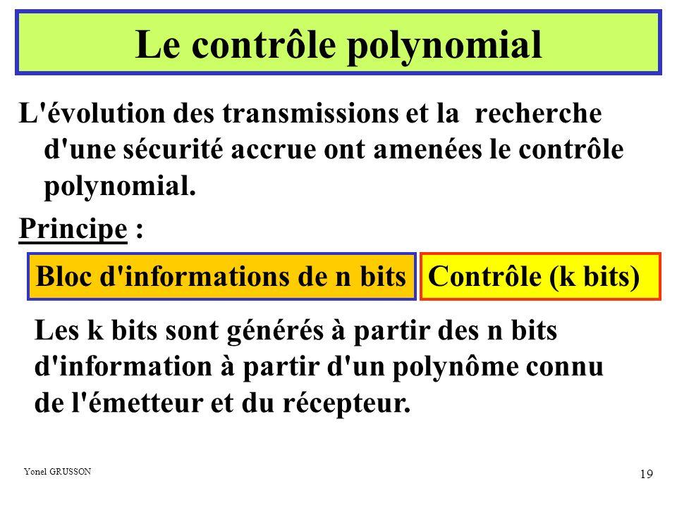 Yonel GRUSSON 19 L'évolution des transmissions et la recherche d'une sécurité accrue ont amenées le contrôle polynomial. Principe : Bloc d'information