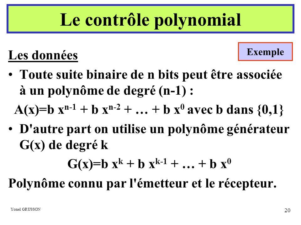 Yonel GRUSSON 20 Les données Toute suite binaire de n bits peut être associée à un polynôme de degré (n-1) : A(x)=b x n-1 + b x n-2 + … + b x 0 avec b