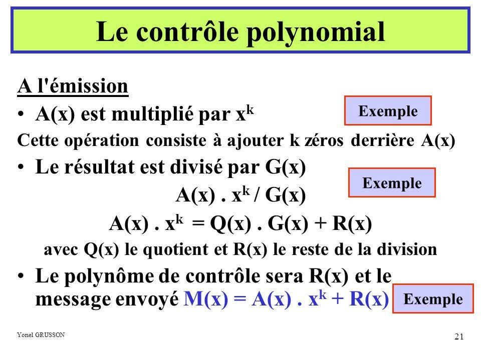 Yonel GRUSSON 21 A l'émission A(x) est multiplié par x k Cette opération consiste à ajouter k zéros derrière A(x) Le résultat est divisé par G(x) A(x)