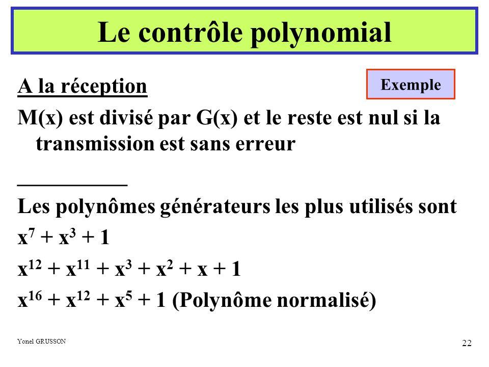 Yonel GRUSSON 22 A la réception M(x) est divisé par G(x) et le reste est nul si la transmission est sans erreur __________ Les polynômes générateurs l