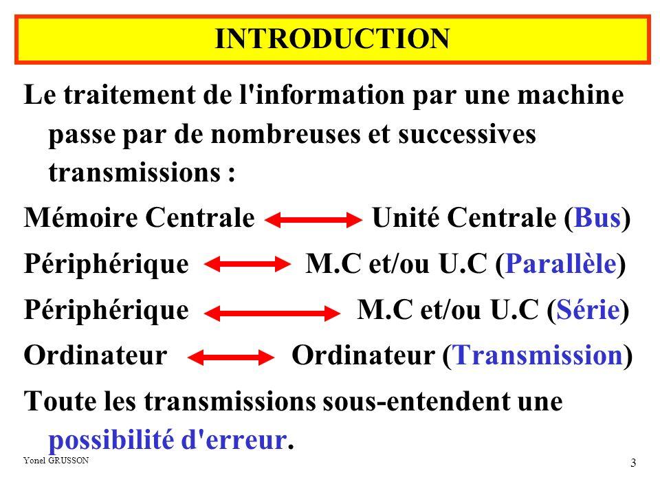 Yonel GRUSSON 14 Exemple : Soit transmettre le bloc de bits suivants : 0110111001011101101110011100111001111100 101010010 Ce bloc est découpé de façon à faire apparaître une parité horizontale, verticale et un bit de parité croisée.