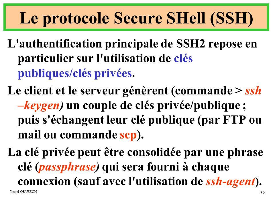 Yonel GRUSSON 38 Le protocole Secure SHell (SSH) L'authentification principale de SSH2 repose en particulier sur l'utilisation de clés publiques/clés