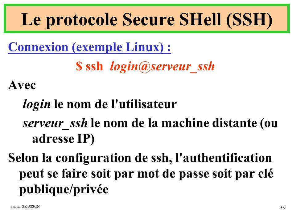 Yonel GRUSSON 39 Le protocole Secure SHell (SSH) Connexion (exemple Linux) : $ ssh login@serveur_ssh Avec login le nom de l'utilisateur serveur_ssh le