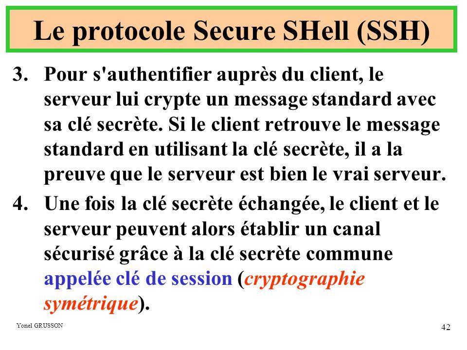Yonel GRUSSON 42 Le protocole Secure SHell (SSH) 3.Pour s'authentifier auprès du client, le serveur lui crypte un message standard avec sa clé secrète