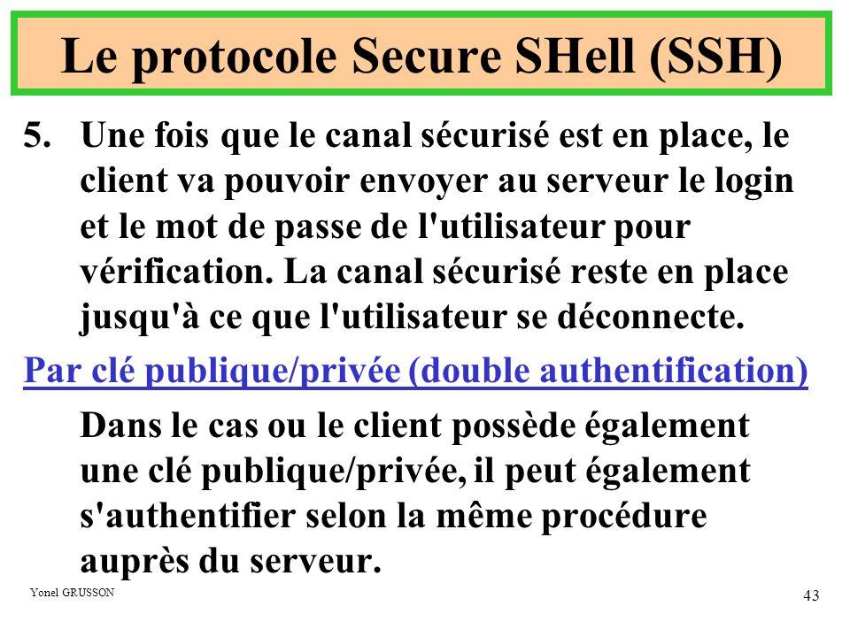 Yonel GRUSSON 43 Le protocole Secure SHell (SSH) 5.Une fois que le canal sécurisé est en place, le client va pouvoir envoyer au serveur le login et le
