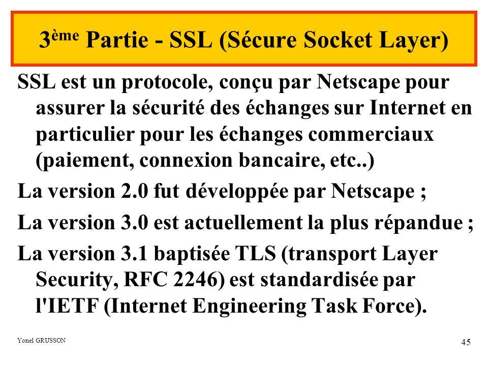 Yonel GRUSSON 45 3 ème Partie - SSL (Sécure Socket Layer) SSL est un protocole, conçu par Netscape pour assurer la sécurité des échanges sur Internet