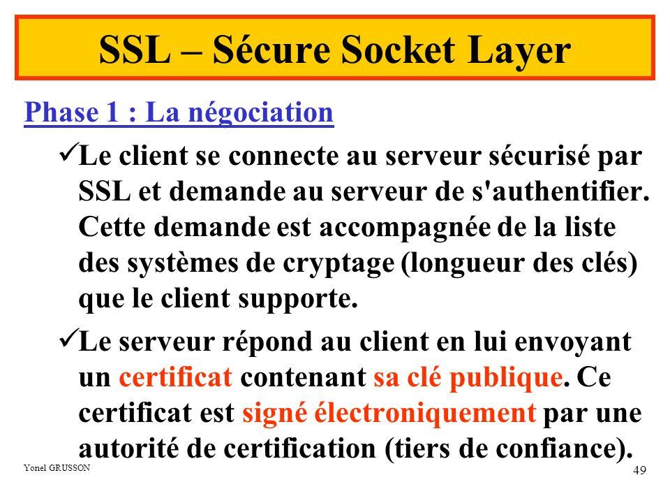 Yonel GRUSSON 49 SSL – Sécure Socket Layer Phase 1 : La négociation Le client se connecte au serveur sécurisé par SSL et demande au serveur de s'authe