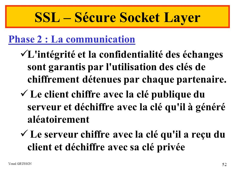 Yonel GRUSSON 52 SSL – Sécure Socket Layer Phase 2 : La communication L'intégrité et la confidentialité des échanges sont garantis par l'utilisation d