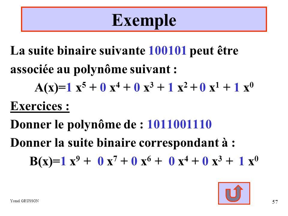 Yonel GRUSSON 57 Exemple La suite binaire suivante 100101 peut être associée au polynôme suivant : A(x)=1 x 5 + 0 x 4 + 0 x 3 + 1 x 2 + 0 x 1 + 1 x 0